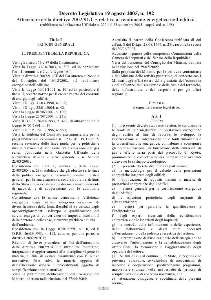 Decreto Legislativo 19 agosto 2005, n. 192  Attuazione della direttiva 2002/91/CE relativa al rendimento energetico nell'e...