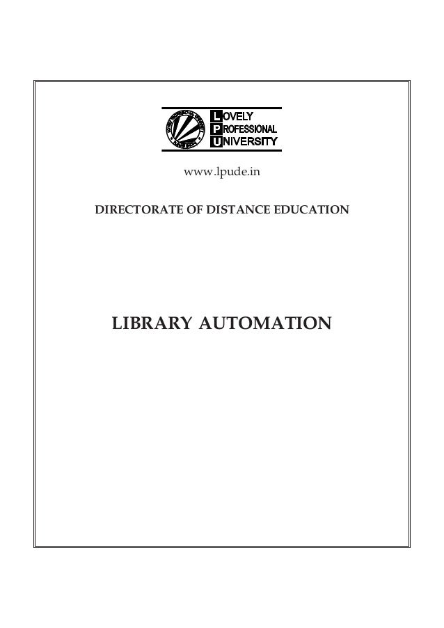 www.lpude.in DIRECTORATE OF DISTANCE EDUCATION LIBRARY AUTOMATION