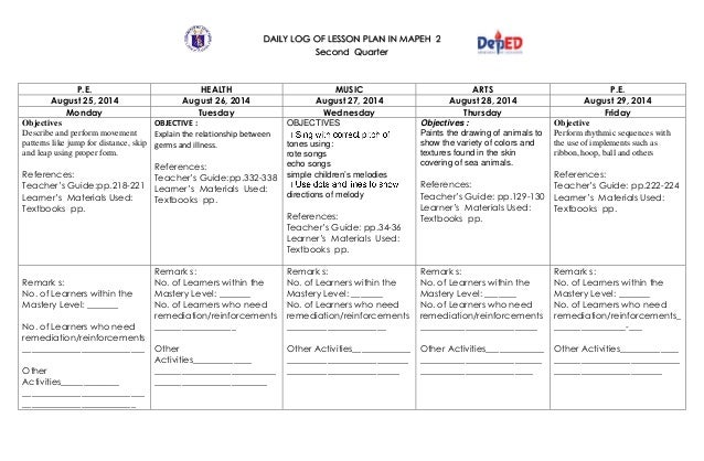 detailed lesson plan in mapeh 4