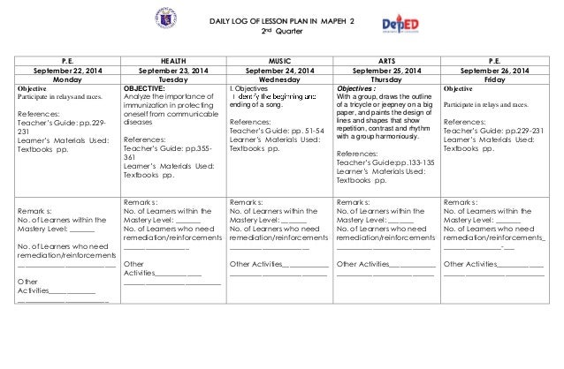 semi detailed lesson plan for mapeh Semi- detailed lesson plan february 4, 2013 science i objectives at the end of the 60 minute period the students should be able to: ø define what is solvent and solutes.