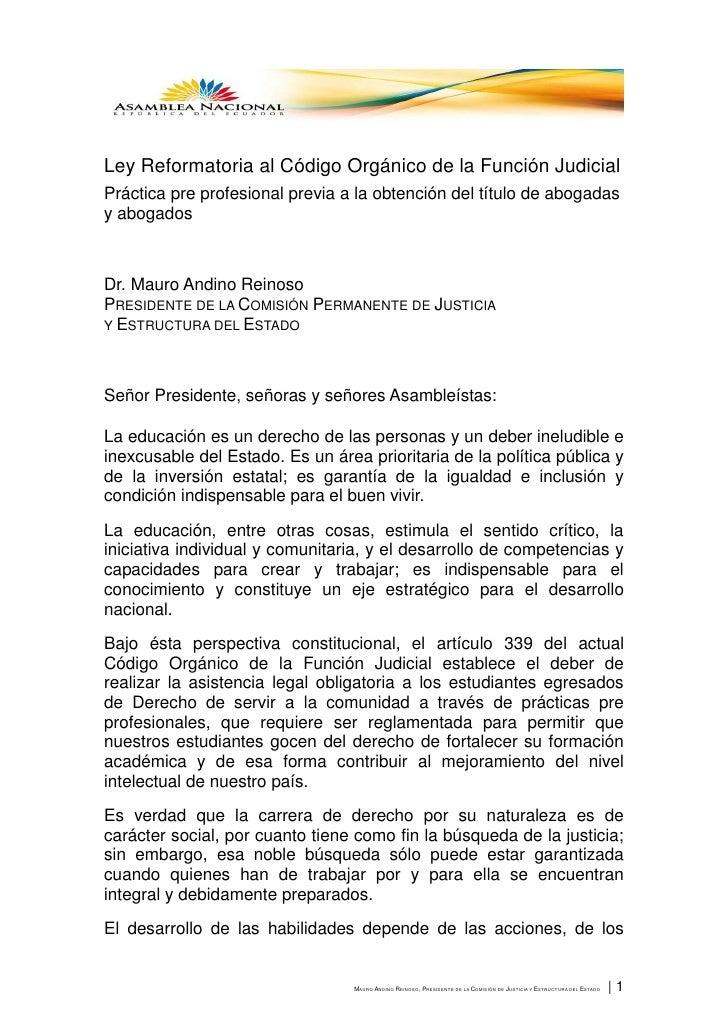 Ley Reformatoria al Código Orgánico de la Función JudicialPráctica pre profesional previa a la obtención del título de abo...