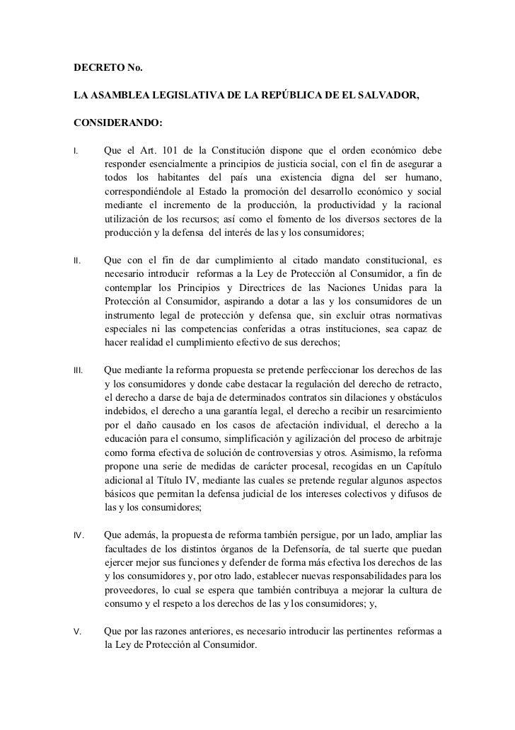 DECRETO No.LA ASAMBLEA LEGISLATIVA DE LA REPÚBLICA DE EL SALVADOR,CONSIDERANDO:I.     Que el Art. 101 de la Constitución d...