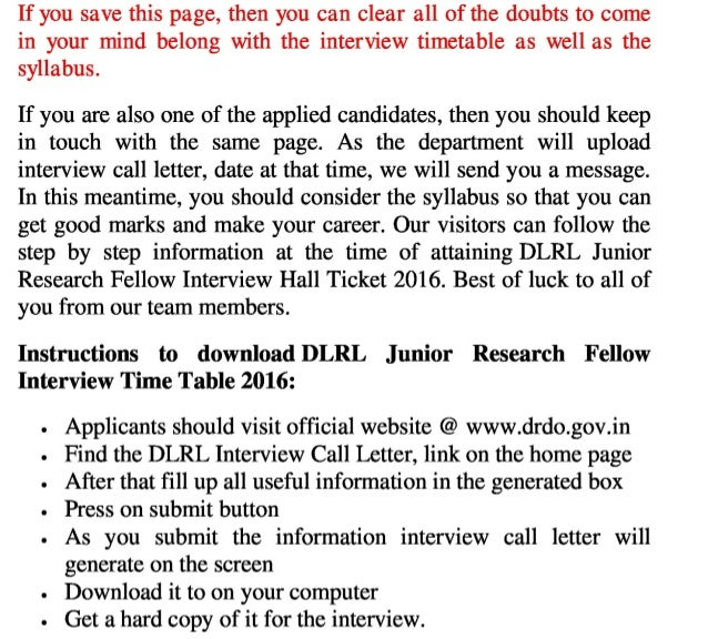 Dlrl jobs interview 2016 call letter and junior research fellow hall ticket and soon update exam result