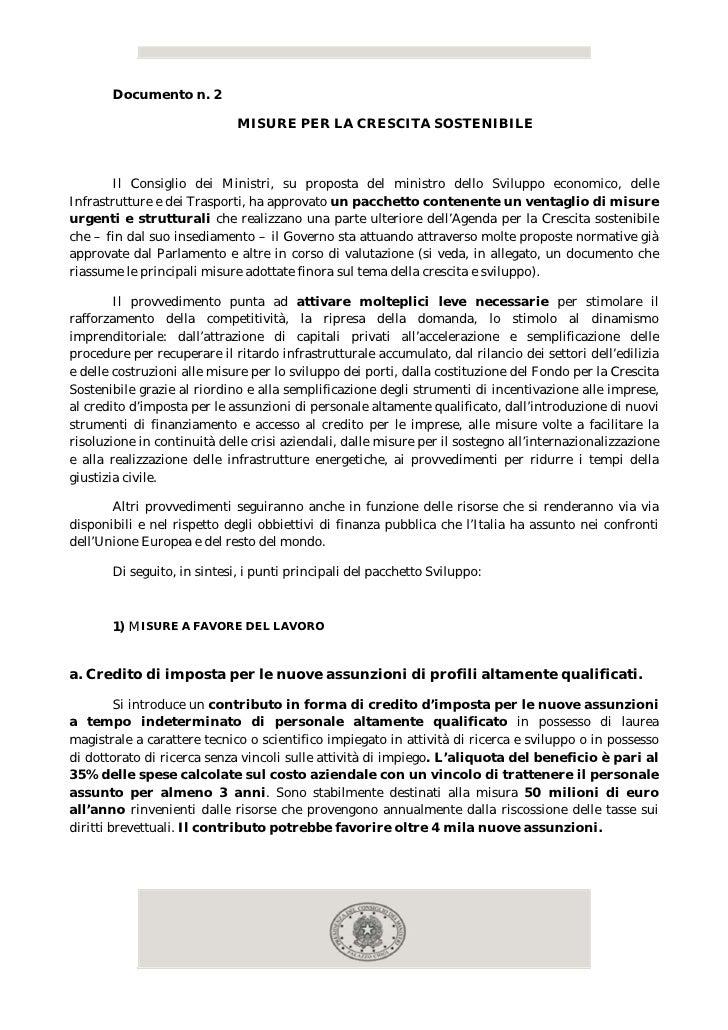 Documento n. 2                             MISURE PER LA CRESCITA SOSTENIBILE        Il Consiglio dei Ministri, su propost...