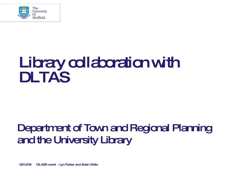 Library collaboration with DLTAS Department of Town and Regional Planning and the University Library