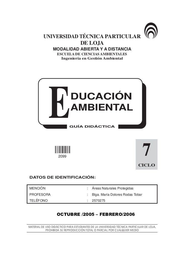 Educación Ambiental 1               UNIVERSIDAD TÉCNICA PARTICULAR                       DE LOJA                  MODALIDA...