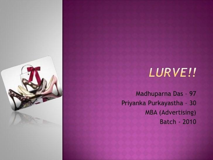 Madhuparna Das – 97 Priyanka Purkayastha – 30 MBA (Advertising) Batch - 2010