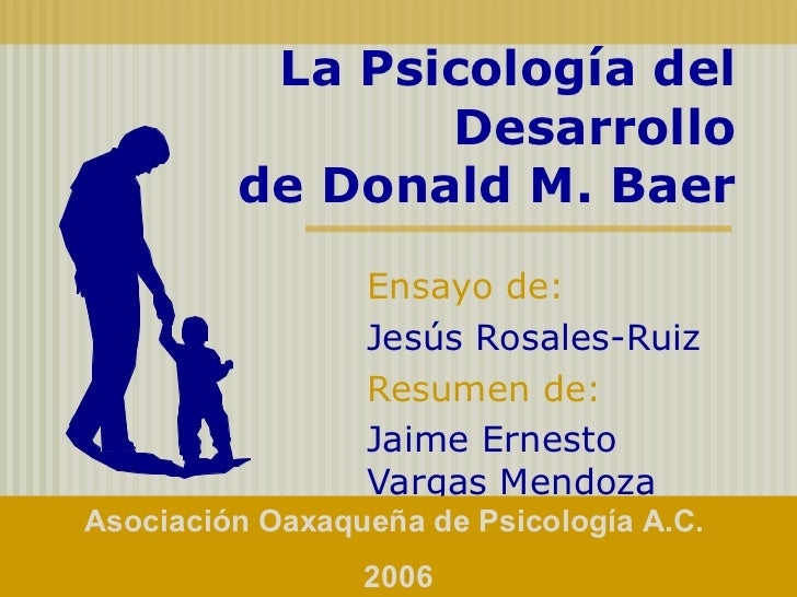 La Psicología del Desarrollo de Donald M. Baer Ensayo de:   Jesús Rosales-Ruiz Resumen de:   Jaime Ernesto Vargas Mendoza ...