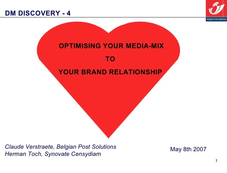 DM DISCOVERY - 4  May 8th 2007 Claude Verstraete, Belgian Post Solutions Herman Toch, Synovate Censydiam OPTIMISING YOUR M...