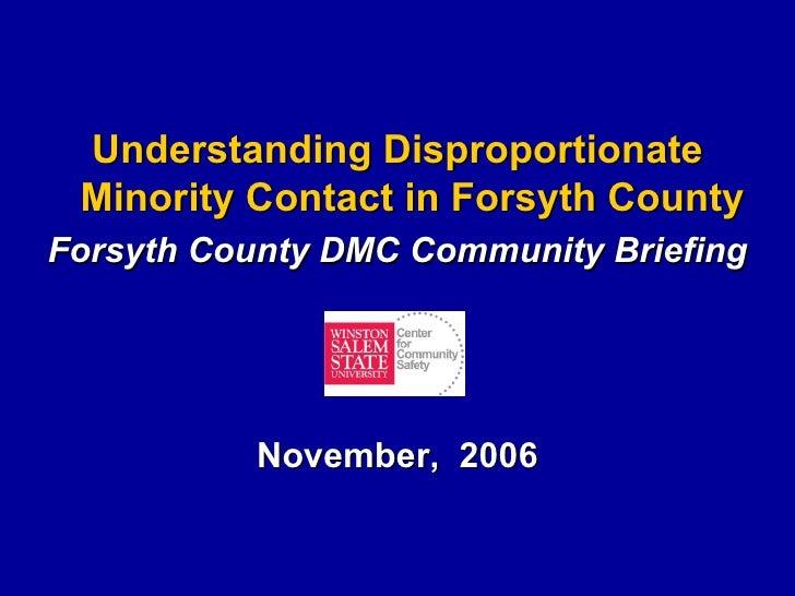 Disproportionate Minority Contact, CCS Final Report