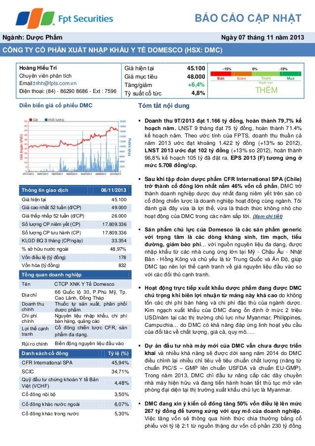 Báo cáo phân tích cổ phiếu DMC tháng 11 2013