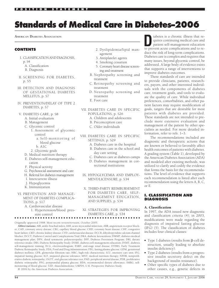 P O S I T I O N                  S T A T E M E N T     Standards of Medical Care in Diabetes–2006                         ...