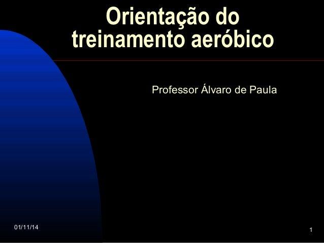 Orientação do  treinamento aeróbico  Professor Álvaro de Paula  01/11/14 1