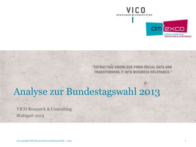 1© Copyright VICO Research & Consulting GmbH | 2013 Analyse zur Bundestagswahl 2013 VICO Research & Consulting Stuttgart 2...