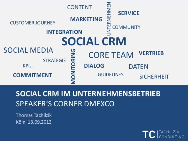 SOCIAL CRM IM UNTERNEHMENSBETRIEB SPEAKER'S CORNER DMEXCO Thomas Tachilzik Köln, 18.09.2013 SOCIAL CRM UNTERNEHMEN INTEGRA...