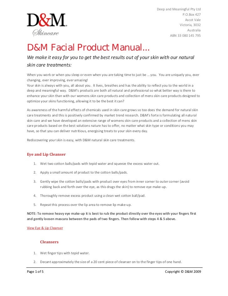 D&m facial product manual