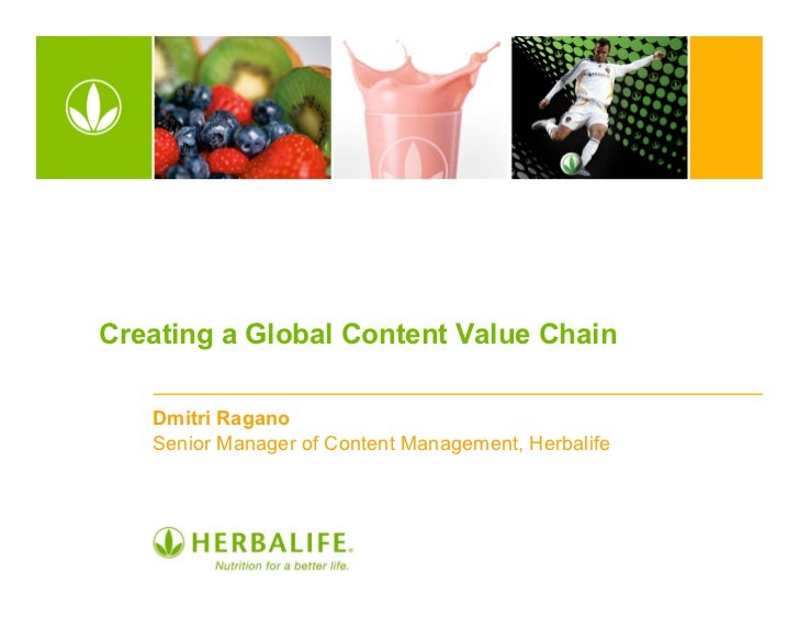 Creating a Global Content Value Chain   Dmitri Ragano   Senior Manager of Content Management, Herbalife