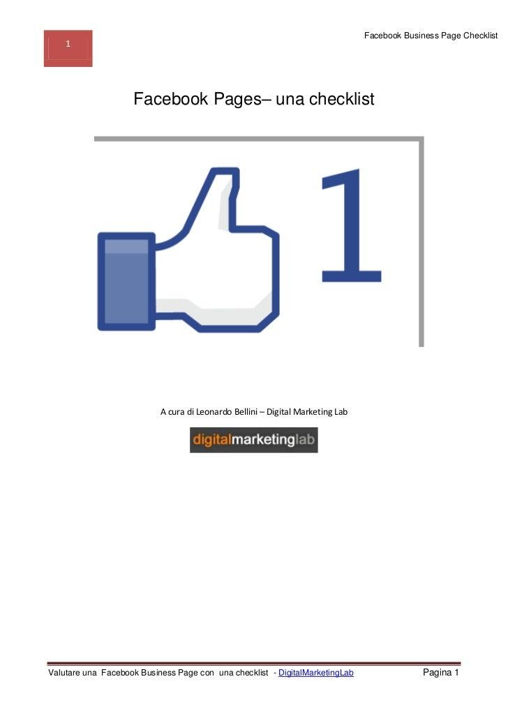 Dml checklist-facebook-page