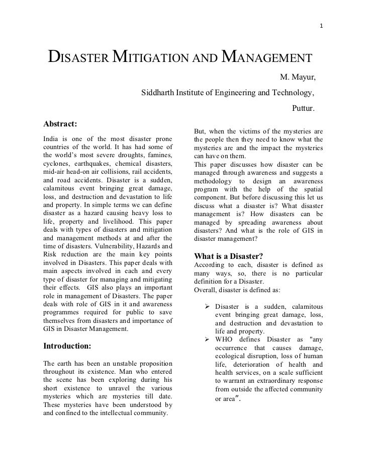 1 DISASTER MITIGATION AND MANAGEMENT                                                                               M. Mayu...