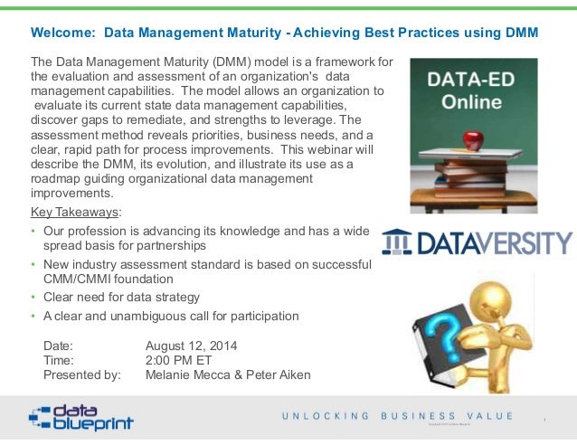 Copyright 2013 by Data Blueprint Welcome: Data Management Maturity - Achieving Best Practices using DMM The Data Managemen...