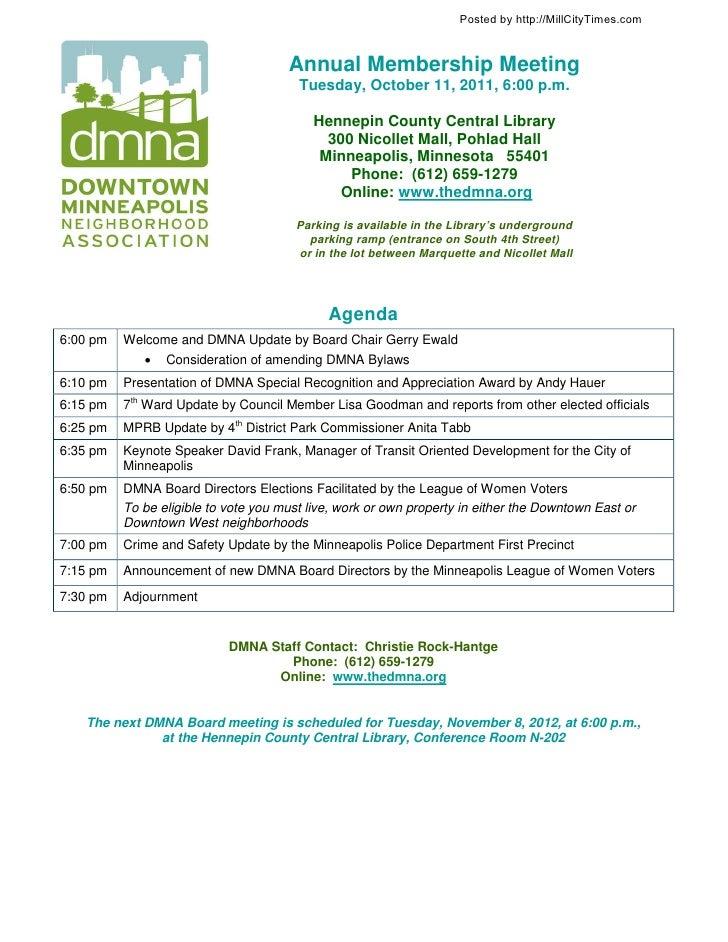 DMNA Annual Meeting Agenda 10-11-11
