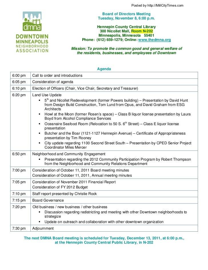 DMNA November Board Meeting Agenda 11-8-11