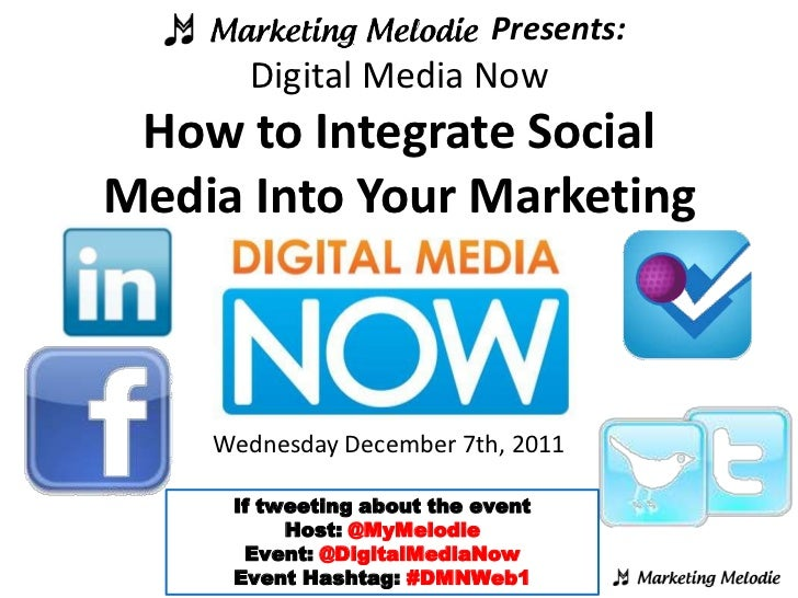 Presents:      Digital Media Now How to Integrate SocialMedia Into Your Marketing    Wednesday December 7th, 2011     If t...