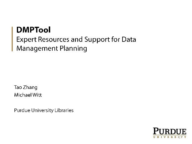 DMPTool: Expert Resources and Support for Data Management Planning