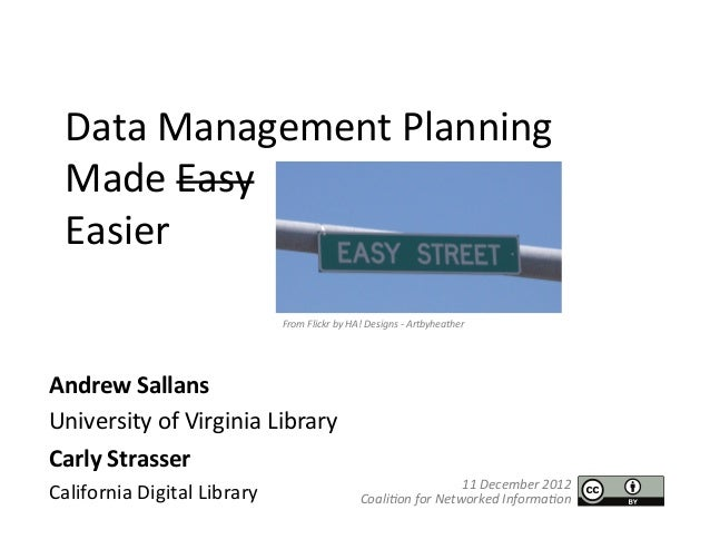 DMPTool: Data Management Made Easier at CNI 2012