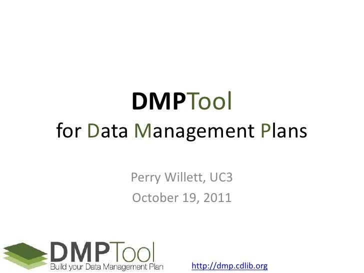 DMPTool webinar 2011-10-19