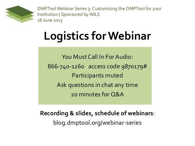 DMPTool Webinar 3: Customizing the DMPTool