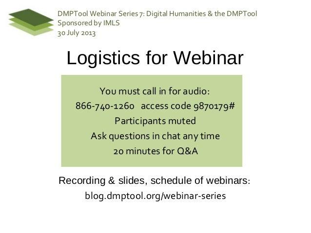 DMPTool Webinar 7: Digital Humanities and the DMPTool by Miriam Posner