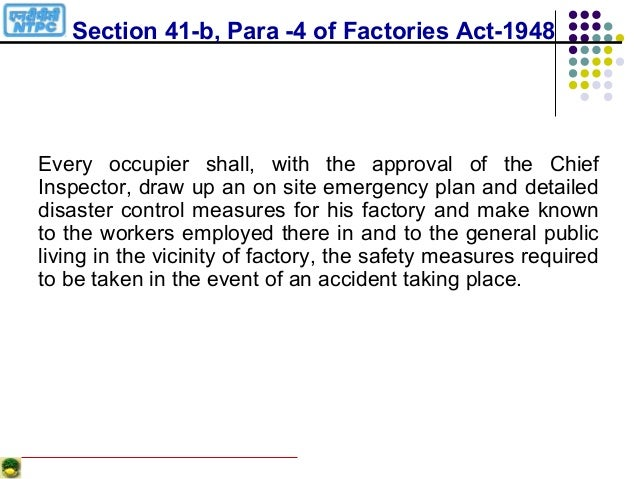 welfarefacilities as per factories act 1948 Home acts implemented details of the acts implemented the factories act, 1948 such facilities shall be management of the welfare arrangements of the.