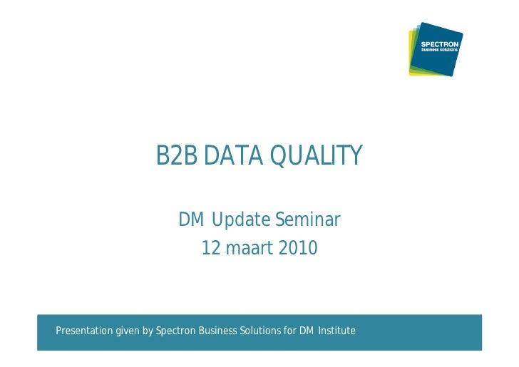 D M  Update Data Quality