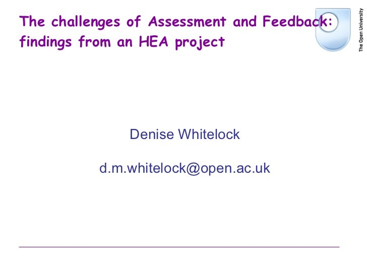 The challenges of Assessment and Feedback: findings from an HEA project