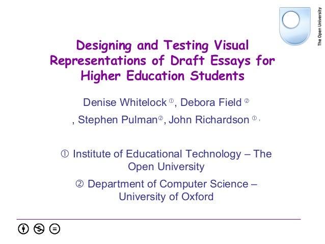 Designing and Testing Visual Representations of Draft Essays for Higher Education Students Denise Whitelock  , Debora Fie...