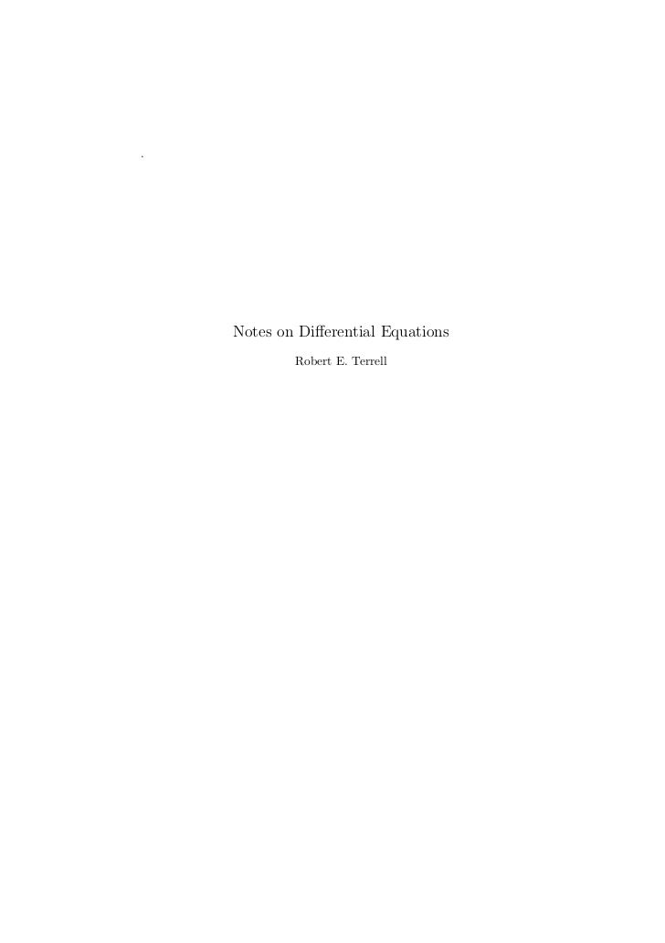 .    Notes on Differential Equations            Robert E. Terrell