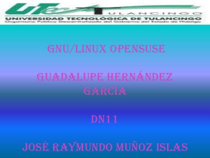 GNU/Linux OpenSUSE  Guadalupe Hernández        García          dn11José Raymundo muñoz islas