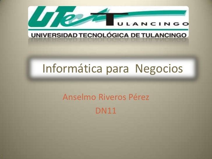 Informática para Negocios   Anselmo Riveros Pérez          DN11