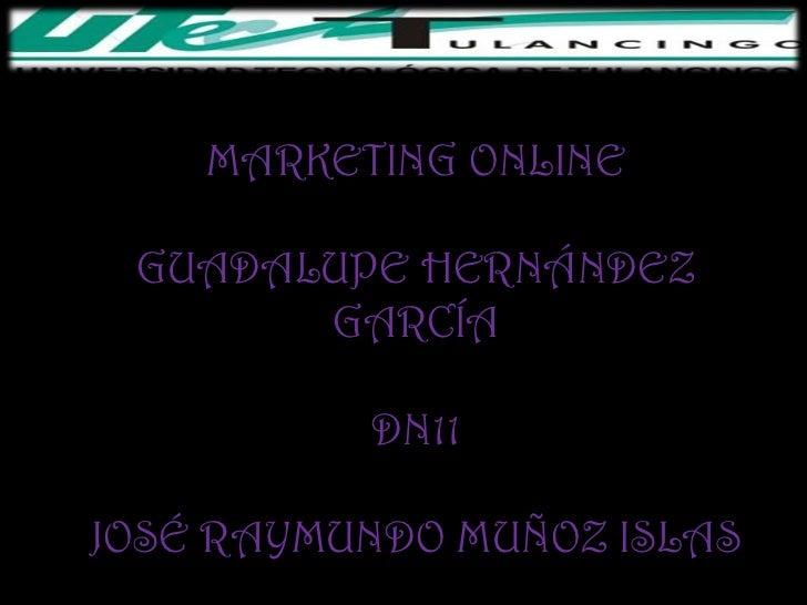 MARKETING ONLINE GUADALUPE HERNÁNDEZ       GARCÍA          DN11JOSÉ RAYMUNDO MUÑOZ ISLAS
