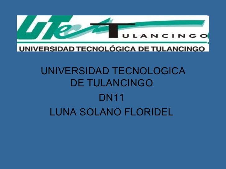 UNIVERSIDAD TECNOLOGICA DE TULANCINGO  DN11  LUNA SOLANO FLORIDEL