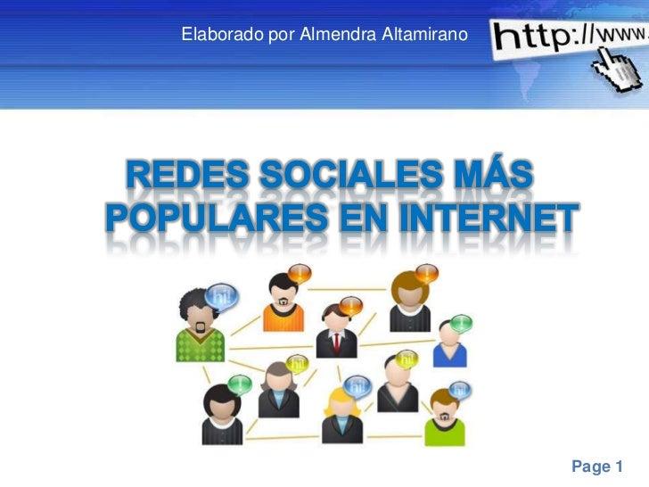 Elaborado por Almendra Altamirano<br />Redes Sociales más populares en Internet <br />