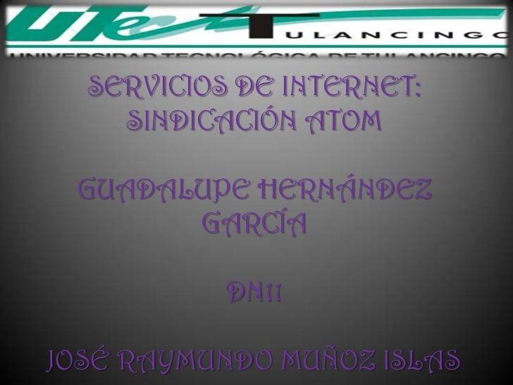 SERVICIOS DE INTERNET:    SINDICACIÓN ATOM GUADALUPE HERNÁNDEZ       GARCÍA           DN11JOSÉ RAYMUNDO MUÑOZ ISLAS