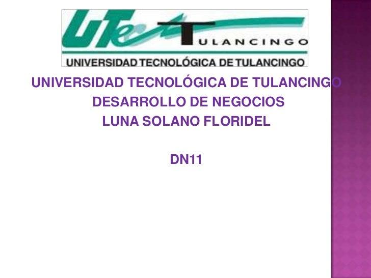 UNIVERSIDAD TECNOLÓGICA DE TULANCINGO       DESARROLLO DE NEGOCIOS         LUNA SOLANO FLORIDEL                DN11