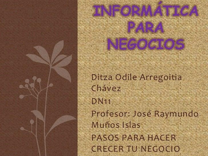 INFORMÁTICA    PARA  NEGOCIOSDitza Odile ArregoitiaChávezDN11Profesor: José RaymundoMuños IslasPASOS PARA HACERCRECER TU N...