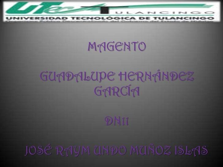 MAGENTO  GUADALUPE HERNÁNDEZ        GARCÍA           DN11JOSÉ RAYM UNDO MUÑOZ ISLAS