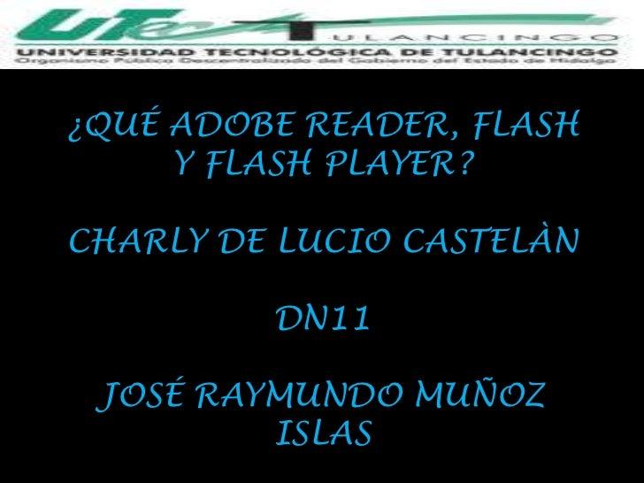 ¿QUÉ ADOBE READER, FLASH     Y FLASH PLAYER?CHARLY DE LUCIO CASTELÀN         DN11 JOSÉ RAYMUNDO MUÑOZ         ISLAS