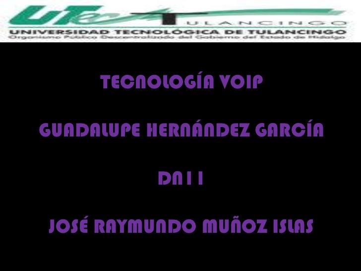 TECNOLOGÍA VOIPGUADALUPE HERNÁNDEZ GARCÍA          DN11JOSÉ RAYMUNDO MUÑOZ ISLAS