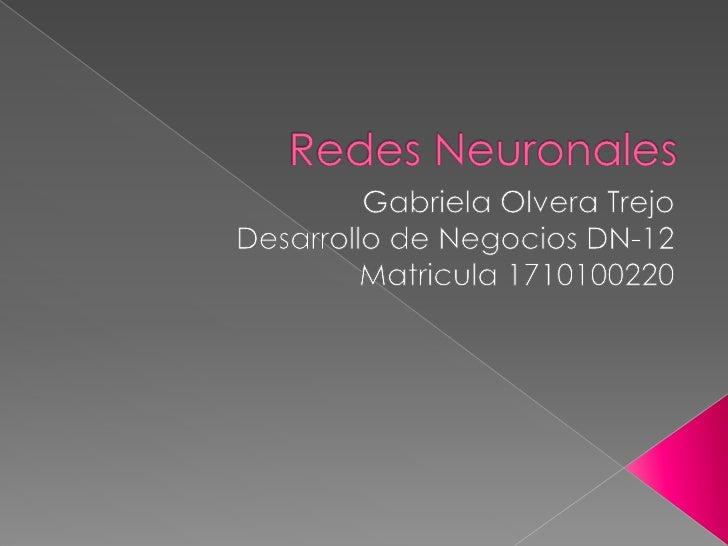 Redes Neuronales<br />Gabriela Olvera Trejo<br />Desarrollo de Negocios DN-12<br />Matricula 1710100220 <br />