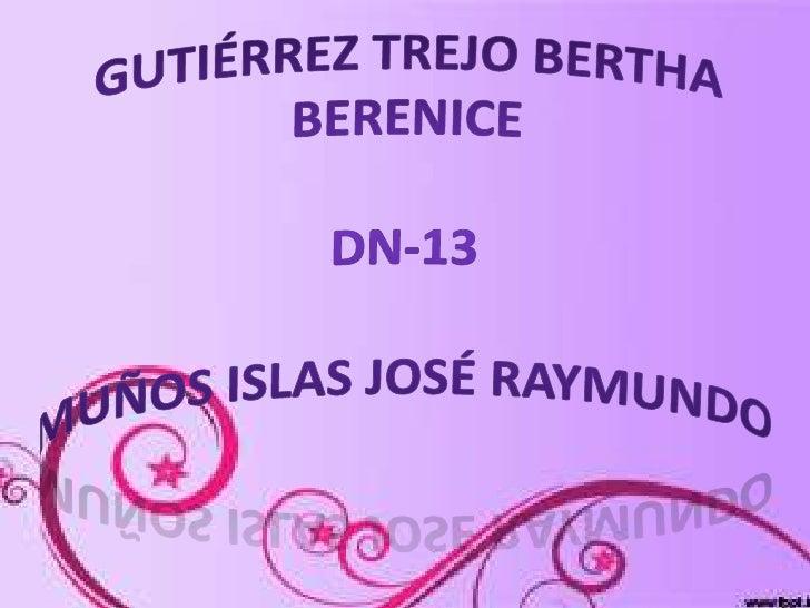 Gutiérrez Trejo Bertha Berenice dn-13muños islas José Raymundo<br />